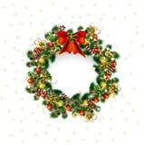 Krans för julhälsningkort, juldeko i vit bakgrund royaltyfri illustrationer