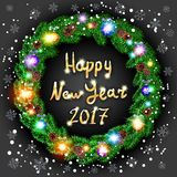 Krans för lyckligt nytt år 2017 för vektorjul grön Bakgrund snow Ljus konst Arkivfoton
