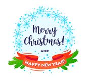 Krans för lyckligt nytt år för glad jul för vektor dekorerad med lyckönskan som isoleras på vit bakgrund stock illustrationer