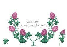 Krans för vattenfärgvektorväxt av släktet Trifolium med dekorativa beståndsdelar, separata flovers, filialer och trefoil stock illustrationer