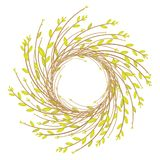Krans fr?n unga pilfilialer Sammansättningen ska dekorera huset Symbol av påsken och våren ocks? vektor f?r coreldrawillustration vektor illustrationer