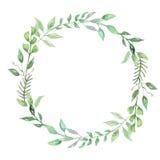 Krans Garland Spring Summer Wedding Leaves för vattenfärggrönskablad Arkivbild
