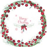 Krans med julpynt och sötsaker, pepparkaka Den runda girlanden dekoreras med festliga festliga beståndsdelar, snöflinga royaltyfri foto