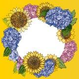 Krans med solrosor och vanliga hortensian för hand utdragna i rund ram Lantlig blom- bakgrund Botanisk illustration för vektor in royaltyfri illustrationer