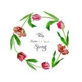 Krans med tulips-02 stock illustrationer