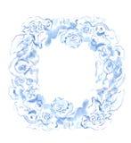 Kransen av blåttblommor målade i vattenfärg på en vit bakgrund Royaltyfria Bilder