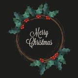 Kransen för glad jul med järnek och bokstäver smsar på svart bakgrund vektor illustrationer