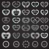 Kranshjärta Valentine Blackboard Royaltyfri Bild