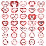 Kranshjärta Valentine Red Big Set Arkivbild