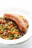 Kransky sausage with Barley Porridge Royalty Free Stock Photos