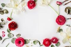 Kransram med rosa och röda rosor eller ranunculusen Fotografering för Bildbyråer