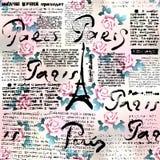 Krant Parijs met rozen Stock Fotografie