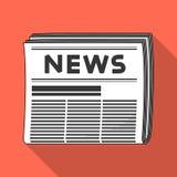 Krant Post en brievenbesteller enig pictogram in het vlakke Web van de de voorraadillustratie van het stijl vectorsymbool Royalty-vrije Stock Afbeelding