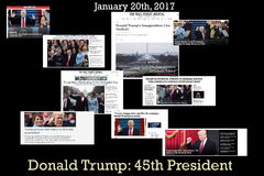Krantekoppen van de voorzitter van Donald Trump - van Amerika ` s vijfenveertigste Royalty-vrije Stock Afbeelding