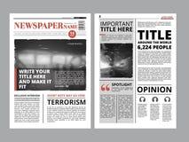 Kranten voorpagina met verscheidene kolommen en foto's Vectortijdschriftdekking Het project van het lay-outontwerp vector illustratie