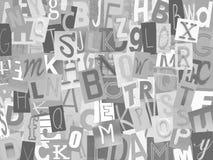 Krantenalfabet op witte backgroud wordt verwijderd die royalty-vrije stock afbeelding