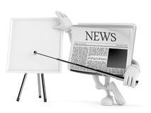 Krantenkarakter met spatie whiteboard royalty-vrije illustratie