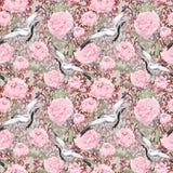 Kranvögel, Pfingstrosenblumen Wiederholendes Blumenmuster, Asien watercolor Lizenzfreie Stockfotografie