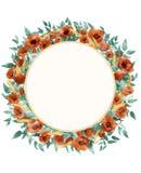 Kranz der wilden Blumen des Aquarells Stockbilder