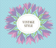 Kranz mit Blättern, Krokusblumenblume Lizenzfreie Stockfotografie