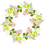 Kranz mit Blättern und roten Blumen vektor abbildung