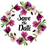 Kranz mit Blumen, handgemachtes Aquarell Für das Design Ihrer Einladungen zur Hochzeit stockfoto