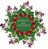Kranz mit Erdbeere und Blumen Wünscht Glück Lizenzfreies Stockbild