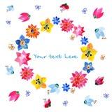 Kranz von gemalten Aquarellblumen Stockbilder