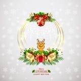 Kranzhintergrund des neuen Jahres und der frohen Weihnachten vektor abbildung
