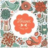 Kranzillustration gemacht von den Blumen und von den Kräutern Stockfoto