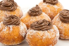 Krapfen with chocolate Stock Image