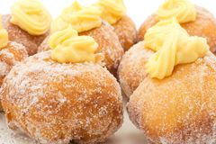 Krapfen with the cream Royalty Free Stock Images