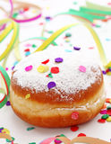 Krapfen or donut with jam Royalty Free Stock Image