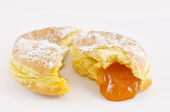 Krapfen or donuts with jam. On white background Stock Photo