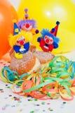 Krapfen ou butées toriques avec les clowns et la flamme Photo libre de droits