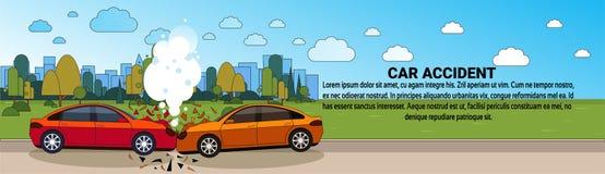 Krasch för bilolycka på baner för begrepp för sammanstötning för vägmedel horisontal royaltyfri illustrationer