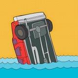 Kraschad bil i vatten stock illustrationer