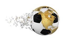 Kraschad bruten fotbollboll med begrepp för planetjordjordklot som isoleras på vit bakgrund Fotbollboll med guld- kontinenter royaltyfri illustrationer