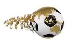 Kraschad bruten fotbollboll med begrepp för planetjordjordklot som isoleras på vit bakgrund Fotbollboll med guld- kontinenter vektor illustrationer