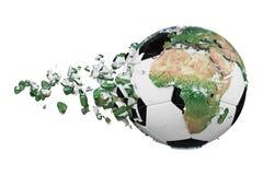 Kraschad bruten fotbollboll med begrepp för planetjordjordklot som isoleras på vit bakgrund Fotbollboll med realistiska kontinent vektor illustrationer