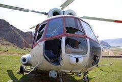kraschad helikopter Arkivbild