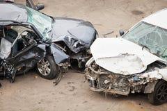 Kraschade bilar Fotografering för Bildbyråer