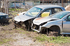 Kraschade gamla bilar Royaltyfri Fotografi