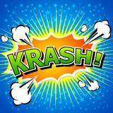 Krash!-可笑的讲话泡影,动画片。 库存图片