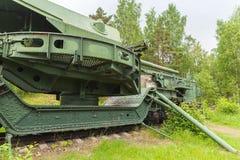 Krasnaya戈尔卡堡垒 TM-1-180铁路枪 库存图片