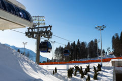 Krasnaya Polyana cableway station Royalty Free Stock Photo