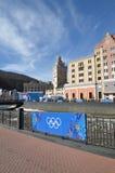 Krasnaya Polyana durante juegos de olimpiada de invierno Foto de archivo libre de regalías
