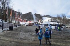 Krasnaya Polyana durante juegos de olimpiada de invierno Imagen de archivo