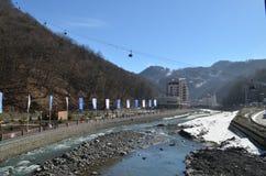 Krasnaya Polyana durante juegos de olimpiada de invierno Imagen de archivo libre de regalías