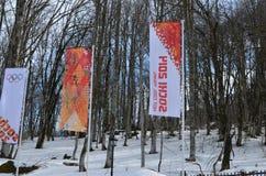 Krasnaya Polyana durante juegos de olimpiada de invierno Fotografía de archivo libre de regalías